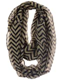 Cotton Cantina Soft Chevron Sheer Infinity Scarf (Earth/Black)