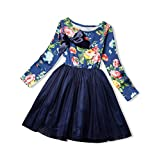 NNJXD Girl Tulle Long Sleeve Printed Bowknot Formal Casual Dress Size 4-5 Years Blue