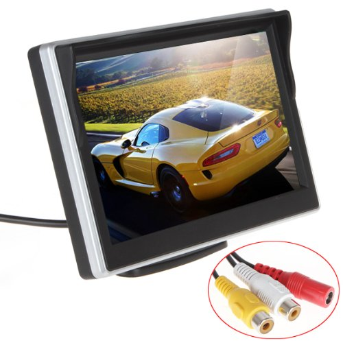 ePathChina® 5 inch TFT-LCD High Definition Digital Panel Color Car Rear View Monitor with Front Diaphragm OSD Menu DC 12V LED Backlight Display Vehicle Rearview Mirror Monitor Support Rotatable Screen