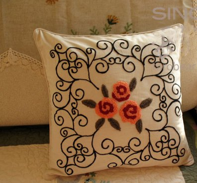 Hand Woollen Embroided Orange Flowers Cushion Cover/Pillow