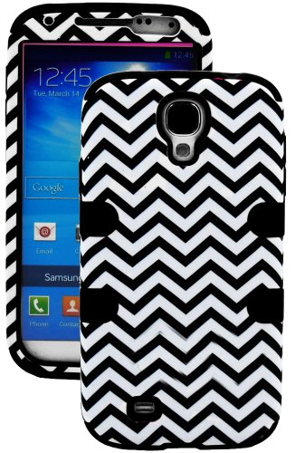 """Mylife (Tm) Black - Chevron Design (3 Piece Hybrid) Hard And Soft Case For The Samsung Galaxy S4 """"Fits Models: I9500, I9505, Sph-L720, Galaxy S Iv, Sgh-I337, Sch-I545, Sgh-M919, Sch-R970 And Galaxy S4 Lte-A Touch Phone"""" (Fitted Front And Back Solid Cover"""
