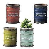 (セット品:4個セット) ミニミニポット (植木鉢) ドラム缶 アソート Bセット (4色×各1個) PETIT TERRACOTTA ガーデン用品