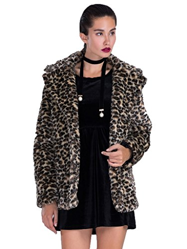 Leopard Print Lapel Faux Fur Coat Jacket