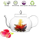 Blooming Tea Glass Teapot Polo, 45oz/1330ml Stainless Steel Strainer Non-Drip Friendship Series