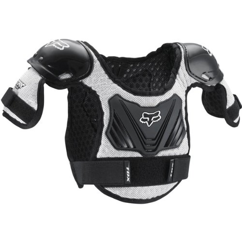 Fox Racing PeeWee Titan Youth Boys Roost Deflector Motocross Motorcycle Body Armor - Black/Silver / Medium/Large