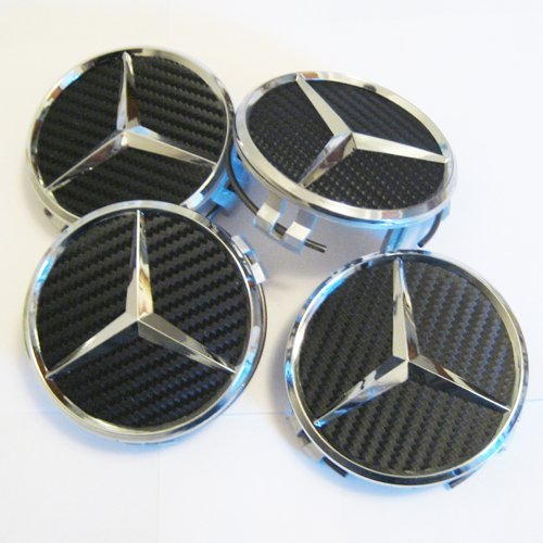 Set of 4 New Mercedes Benz Black Carbon Fiber