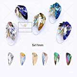 50pcs Crystal Glass Charms Wing Back Pointed Rhinestones For Nail Decor 7 Colors Mix (Color: Mix color Wings, Tamaño: 5x11mm)