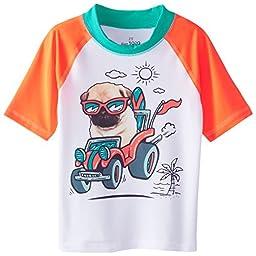 The Children\'s Place Little Boys\' Short Sleeve Dog Rashguard, White, 2T