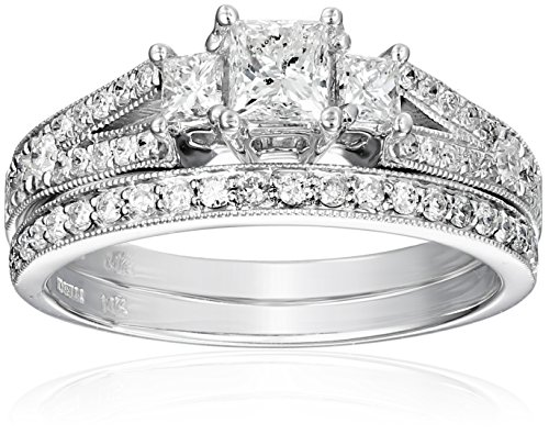 Kobelli-1-18-cttw-Princess-and-Round-Diamond-14k-Gold-Wedding-Ring-Set-Size-105