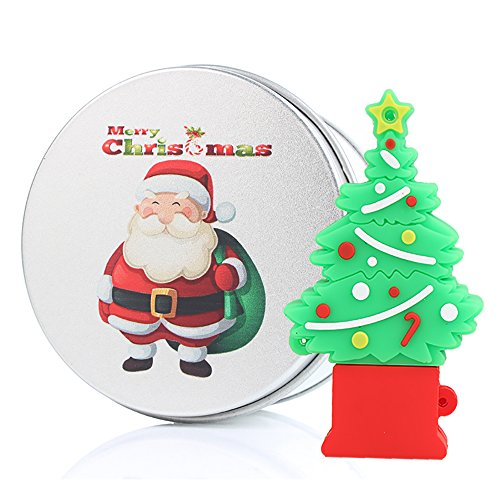 Christmas Tree Santa Gift 16G USB Flash Drive Memory Stick Data Storage Device & Metal Box Packing, Novelty Cute Gift / Present