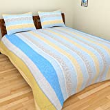 BeautifulHOMES 180 TC Cotton Double Bedsheet with Two Pillow Covers - Multi Color, CF006