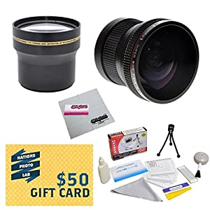 Professional 3.7X Telephoto & 0.20X Fisheye Lens Package For Olympus SP-550 SP-570 SP-560 UZ Digital Camera Includes CLA-10 Replacement Lens Adapter + Deluxe Lens Cleaning Kit + LCD Screen Protectors + Mini Tripod + 47stphoto Microfiber Cloth + $50 Photo Print Gift Card!