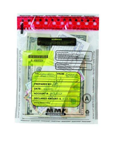 MMF Industries FraudStopper Tamper-Evident Deposit Bags, 2.5 mm, 9 x 12 Inches, 100 Bags per Box, Clear (2362010N20)