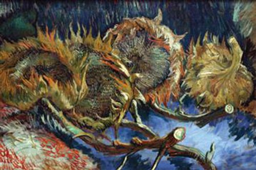 Walls 360 Peel & Stick Flower Wall Decals: Four Sunflowers Gone To Seed by Vincent Van Gogh (24 in x 16 in)