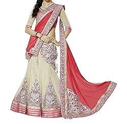 Krishna ECommerce Red Color Embroidered Net::Georgett Lehenga Choli
