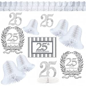 Amazon.com: 25th Wedding Anniversary 'Silver Wishes' Decorating Kit