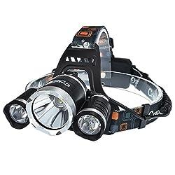 CrazyFire LEDヘッドライト 5000LM 3灯CREE XM-L T6 4モード 防水ヘッドランプ (1T6(白光)+2R5(白光), 本体だけ)