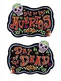Tag der Toten Party Schild Halloween Deko schwarz bunt 47x47cm