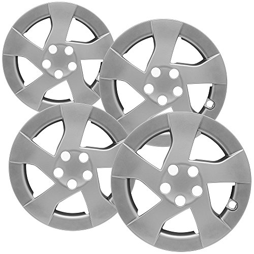 OxGord Hubcaps for Toyota Prius Set of 4 Pack Auto Wheel Covers, Aftermarket Factory Replacement with ABS Chrome Plastic Fits 15