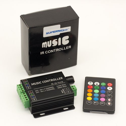 Supernight(Tm) Ir Music Controller For Rgb Color Changing Led Lights Strips With Audio Input