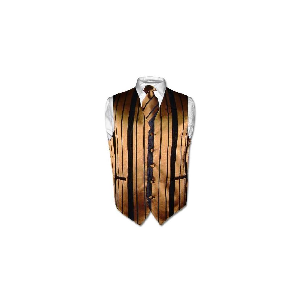 d3e00a98ff Mens Paisley Design Dress Vest NeckTie GOLD Color Neck Tie Set for Suit or  Tuxedo