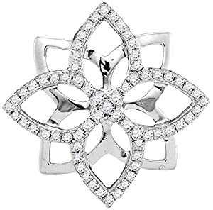 Star Flower Diamond Pendant 10k White Gold 1/3 CTW 65 Diamonds