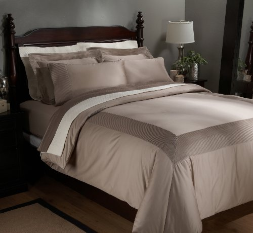 Pinzon Pleated Hem 100 Percent Egyptian Cotton 400-Thread Count Duvet Set