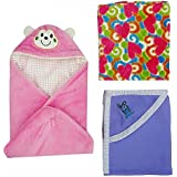 BRANDONN Hooded Blanket Cum Wrapping Sheet For Babies (Set Of 3, COMBO2)