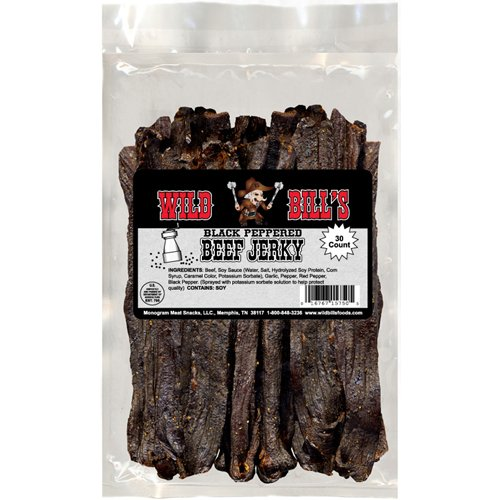 Wild Bill's Black Peppered Beef Jerky (premium black pepper beef jerky made from top round)