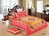Lt Full Queen Size 4-pieces 100% Cotton Red Golden Teens Jaipur Designer Toddler Prints Fitted Sheet Sets (Mattress Cover) Ruffle Duvet Cover Set/bed Linens/bed Sheet Sets/bedclothes/bedding Sets/bed Sets/bed Covers/5-pieces Comforter Sets/bed in a Bag (F