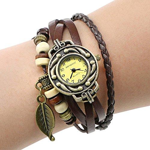 toleap retro baum blatt leder armkette armband armbanduhr. Black Bedroom Furniture Sets. Home Design Ideas