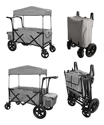 grey-push-handle-foot-brake-folding-wagon-baby-stroller-utility-cart-gray