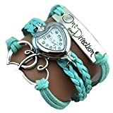 One Direction Heart Watch Charm Bracelet+Twin Hearts+One Direction+Leather COOL BLUE