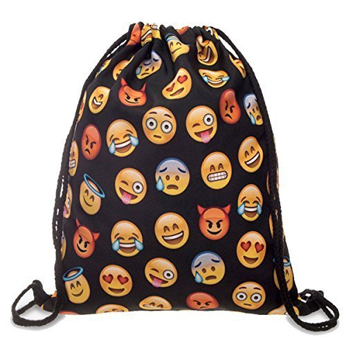 Flora Mcqueen 18''X13.75'' Gym Sack Bag Drawstring Backpack Sport Bag for Men & Women School Travel Backpack for Teens College Girls Sackpack (Smile Faces) (Emoji Draw compare prices)