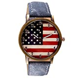 Start Men's & Women's Chic Watches American Flag pattern Wrist Watch Bracelet (Dark Blue)