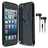 BLACK S LINE WAVE GEL SKIN CASE & BLACK EAR EARPHONES FOR APPLE IPOD TOUCH 5