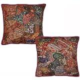 "Jaipuri Designer Patchwork Cushion Cover Set, Size 16 X 16 """
