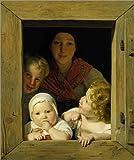 Alu Dibond 100 x 120 cm: Junge Bäuerin mit drei Kindern im Fenster. 1840 von Ferdinand Georg Waldmüller / ARTOTHEK