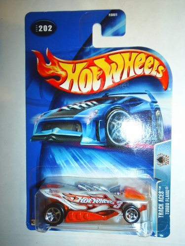 Hot Wheels 2004-202 Track Aces ORANGE/WHITE Turbo Flame 1:64 Scale - 1