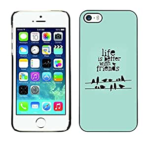Omega Covers - Snap on Hard Back Case Cover Shell FOR Apple iPhone 5 / 5S - Quote Birds Green Gift Mint