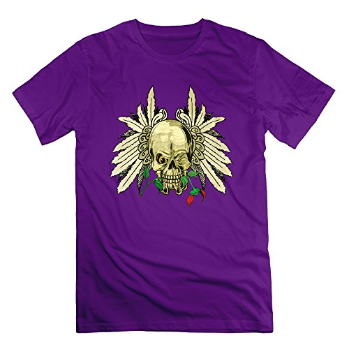 Men's Skull With Wings And Dead Rose Short-Sleeve T-shirt Purple (Gamecock Candy Jar compare prices)