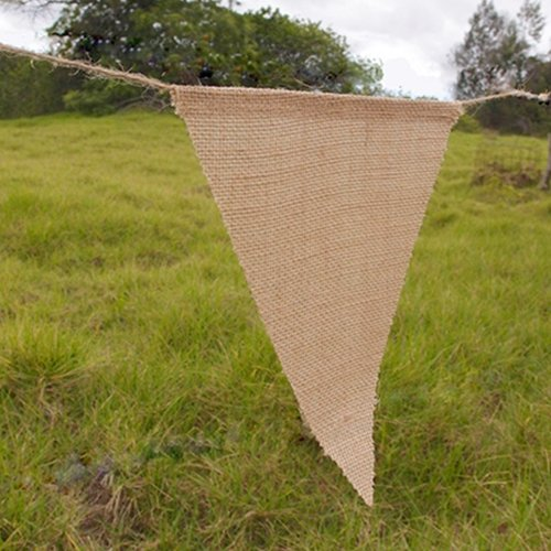 Burlap Banner 12 Triangle 8 x 10 inch pennants, 38 in long, Bunting - 1
