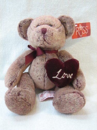 "Russ Berrie Chantelle Brown Love Bear 14"" Plush"