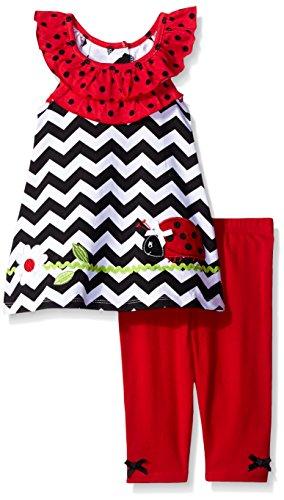 Nannette Little Girls' 2 Piece Ladybug Playwear Set, Black/Red, 4