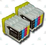 8 Chipped LC1000/LC970 Compatible Ink Cartridges for the Brother DCP-330C Printer