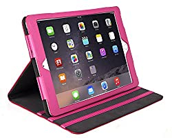 iPad Air Case - Bear Motion for iPad Air - 100% Genuine Leather Case for iPad Air Support Smart Cover Function - iPad Air (iPad Air 2, Hot Pink)