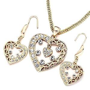 Pugster Golend Open Heart Clear Swarovski Element Crystal Hollow Pendant Necklace Earrings Set