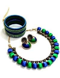 Varshini Fashion Silk Thread Blue Green Earring Necklace Set For Women