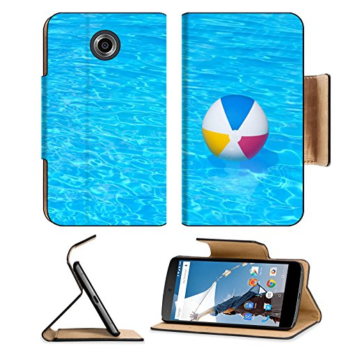 MSD Motorola Google Nexus 6 Flip Pu Leather Wallet Case Inflatable colorful ball floating in a swimming pool IMAGE 24181082