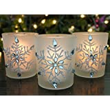 """Snowflake Votive Candleholders with Flameless Flickering LED Candles Set of 3 Frosted Glass Glittery Snowflakes with Jewels - 2-3/4""""h"""